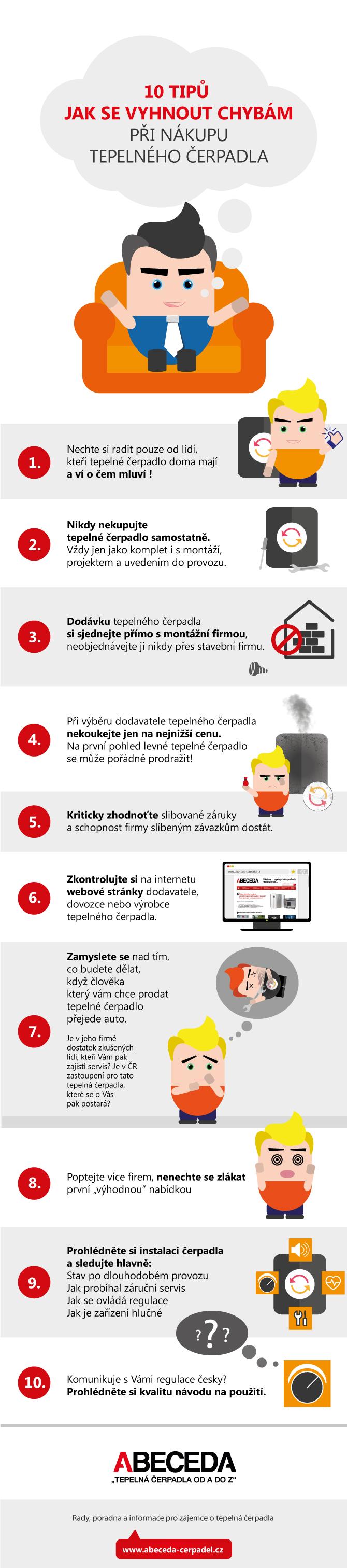 Infografika 10 tipů jak se vyhnout chybám při nákupu tepelného čerpadla